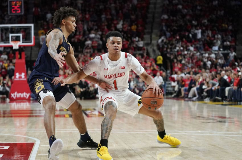 COLLEGE PARK, MD - DECEMBER 04: Anthony Cowan Jr. #1 of the Maryland Terrapins dribbles the ball against Prentiss Hubb #3 of the Notre Dame Fighting Irish in the second half at Xfinity Center on December 4, 2019 in College Park, Maryland. (Photo by Patrick McDermott/Getty Images)