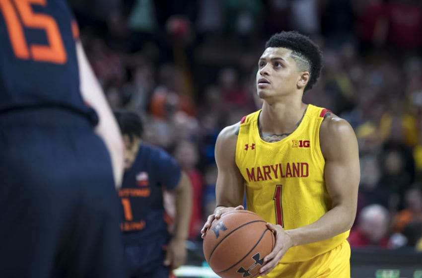 COLLEGE PARK, MD - DECEMBER 07: Anthony Cowan Jr. #1 of the Maryland Terrapins preparers to take a foul shot during the second half of the game against the Illinois Fighting Illini at Xfinity Center on December 7, 2019 in College Park, Maryland. (Photo by Scott Taetsch/Getty Images)