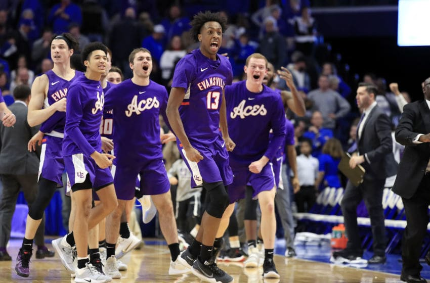 LEXINGTON, KENTUCKY - NOVEMBER 12: Deandre Williams #13 of the Evansville Aces celebrates in the 67-64 win over the Kentucky Wildcats at Rupp Arena on November 12, 2019 in Lexington, Kentucky. (Photo by Andy Lyons/Getty Images)