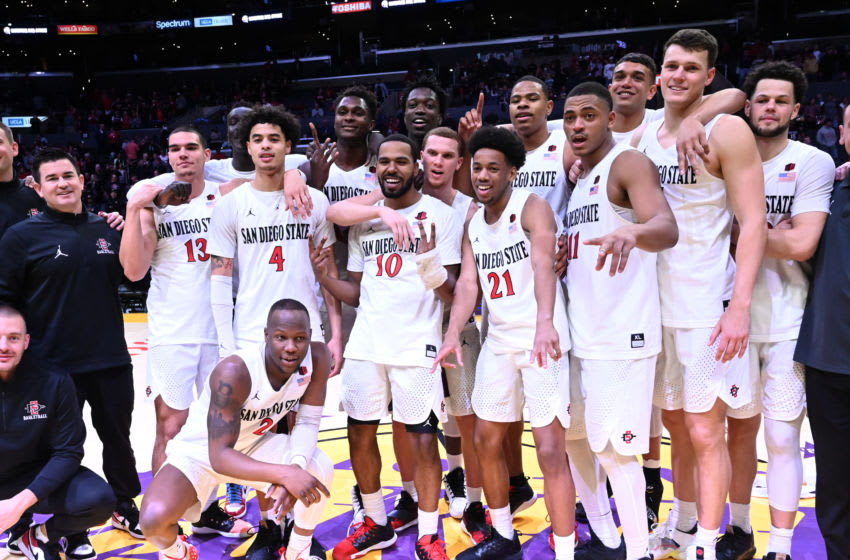 LOS ANGELES, CA - DECEMBER 21: The San Diego State Aztecs team remains undefeated after defeating the Utah Utes in the Air Force Reserve Basketball Hall of Fame Classic at Staples Center on December 21, 2019 in Los Angeles, California. (Photo by Jayne Kamin-Oncea/Getty Images)