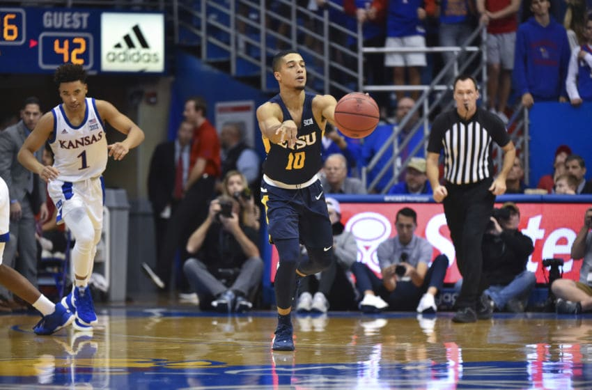 LAWRENCE, KANSAS - NOVEMBER 19: Patrick Good #10 of the East Tennessee State Buccaneers in action against the Kansas Jayhawks at Allen Fieldhouse on November 19, 2019 in Lawrence, Kansas. (Photo by Ed Zurga/Getty Images)