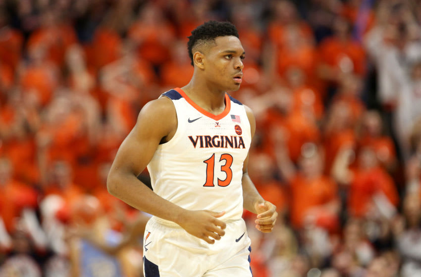 CHARLOTTESVILLE, VA - DECEMBER 07: Casey Morsell #13 of the Virginia Cavaliers in the first half during a game against the North Carolina Tar Heels at John Paul Jones Arena on December 7, 2019 in Charlottesville, Virginia. (Photo by Ryan M. Kelly/Getty Images)