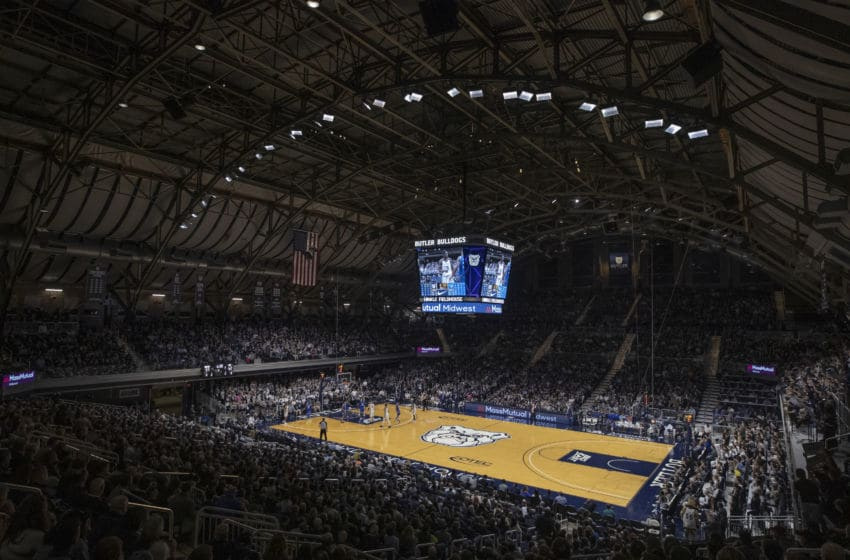 INDIANAPOLIS, IN - JANUARY 15: General view of the interior of Hinkle Fieldhouse seen during the Butler Bulldogs and Seton Hall Pirates game on January 15, 2020 in Indianapolis, Indiana. (Photo by Michael Hickey/Getty Images)