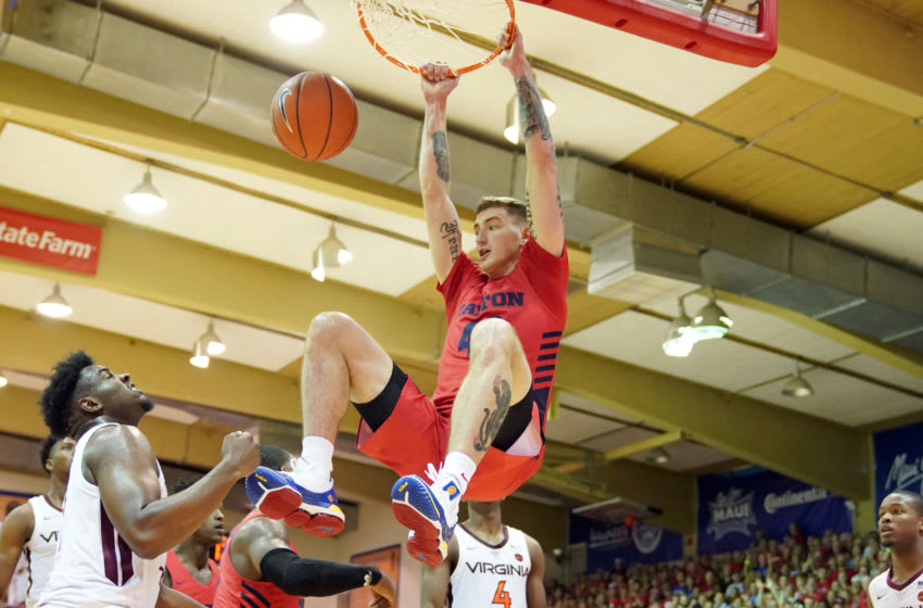 LAHAINA, HI - NOVEMBER 26: Chase Johnson #40 of the Dayton Flyers dunks the ball during a second round Maui Invitation game against the Virginia Tech Hokies at the Lahaina Civic Center on November 26, 2019 in Lahaina, Hawaii. (Photo by Mitchell Layton/Getty Images)