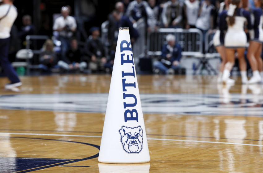 INDIANAPOLIS, IN - DECEMBER 07: A detail view of a Butler Bulldogs megaphone which is seen during a game against the Florida Gators at Hinkle Fieldhouse on December 7, 2019 in Indianapolis, Indiana. Butler defeated Florida 76-62. (Photo by Joe Robbins/Getty Images)