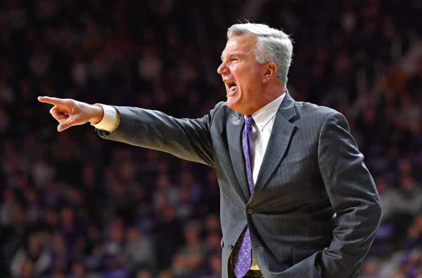 MANHATTAN, KS - JANUARY 18: Head coach Bruce Weber of the Kansas State Wildcats call out instructions during the second half against the West Virginia Mountaineers at Bramlage Coliseum on January 18, 2020 in Manhattan, Kansas. (Photo by Peter G. Aiken/Getty Images)