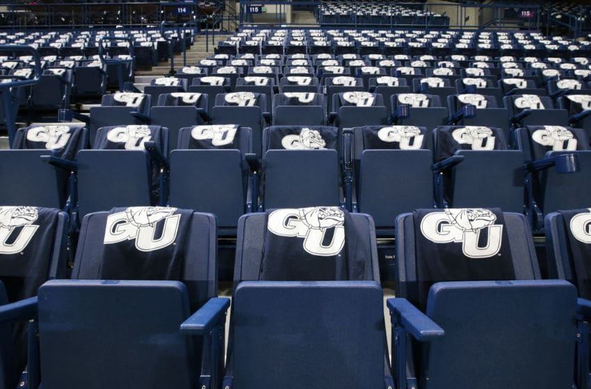 SPOKANE, WASHINGTON - DECEMBER 18: Gonzaga Bulldogs t-shirts are draped over stadium seats prior to the game between the North Carolina Tar Heels and the Gonzaga Bulldogs at McCarthey Athletic Center on December 18, 2019 in Spokane, Washington. (Photo by William Mancebo/Getty Images)