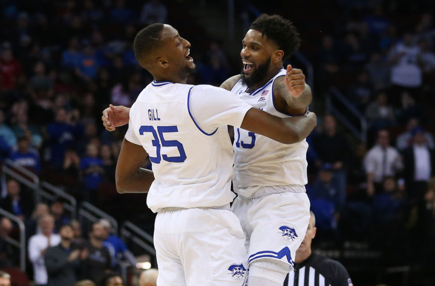 NEWARK, NJ - JANUARY 29: Myles Powell #13 and Romaro Gill #35 of the Seton Hall Pirates celebrate a basket against the DePaul Blue Demons during the second half of a college basketball game at Prudential Center on January 29, 2020 in Newark, New Jersey. Seton Hall defeated DePaul 64-57. (Photo by Rich Schultz/Getty Images)