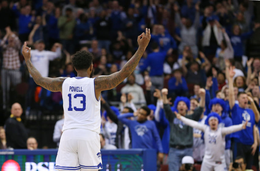 NEWARK, NJ - JANUARY 29: Myles Powell #13 and raises his arms after a basket against the DePaul Blue Demons during the second half of a college basketball game at Prudential Center on January 29, 2020 in Newark, New Jersey. Seton Hall defeated DePaul 64-57. (Photo by Rich Schultz/Getty Images)