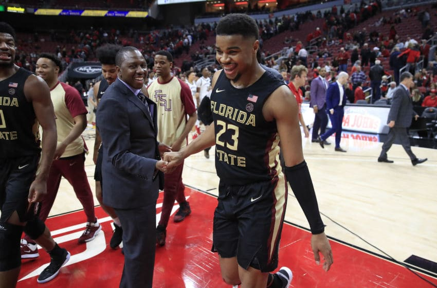 LOUISVILLE, KENTUCKY - JANUARY 04: M.J. Walker #23 of the Florida State Seminoles celebrates after the 78-65 win against Louisville Cardinals at KFC YUM! Center on January 04, 2020 in Louisville, Kentucky. (Photo by Andy Lyons/Getty Images)