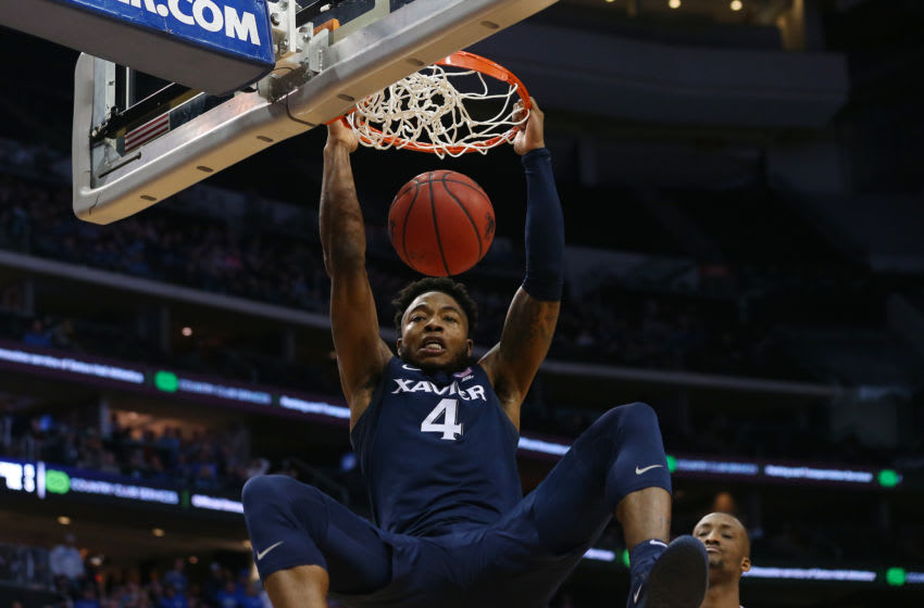 NEWARK, NJ - FEBRUARY 01: Tyrique Jones #4 of the Xavier Musketeers dunks against the Seton Hall Pirates during the second half of a college basketball game at Prudential Center on February 1, 2020 in Newark, New Jersey. Xavier defeated Seton Hall 74-62. (Photo by Rich Schultz/Getty Images)