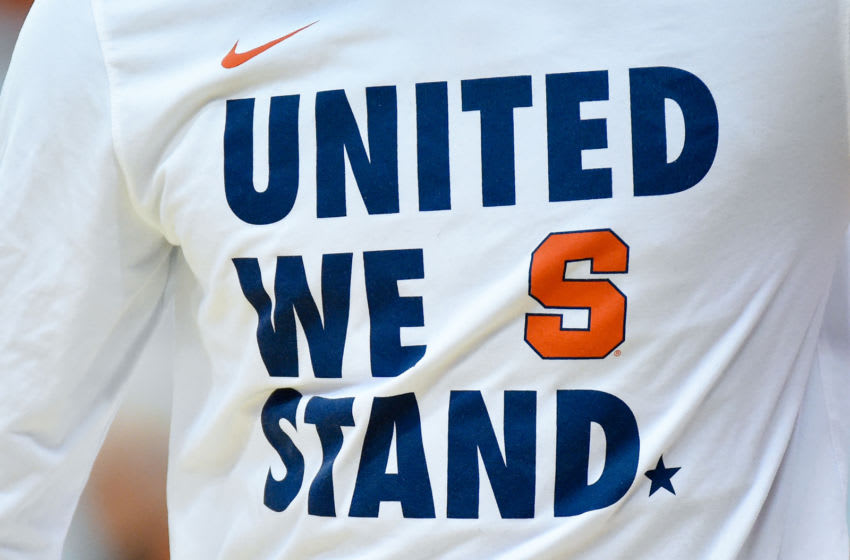 SYRACUSE, NY - JANUARY 07: General view of a t-shirt worn by a Syracuse Orange player prior to the game against the Virginia Tech Hokies at the Carrier Dome on January 7, 2020 in Syracuse, New York. (Photo by Rich Barnes/Getty Images)