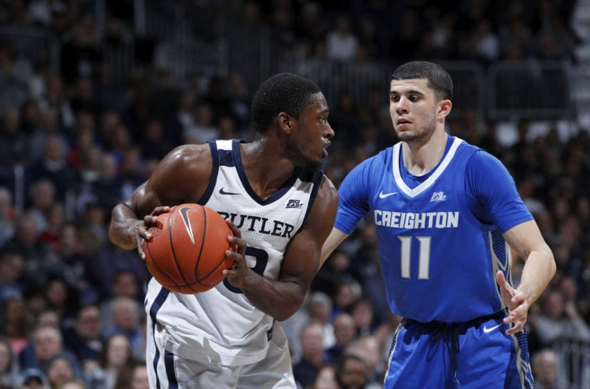 INDIANAPOLIS, IN - JANUARY 04: Kamar Baldwin #3 of the Butler Bulldogs handles the ball against Marcus Zegarowski #11 of the Creighton Bluejays during a game at Hinkle Fieldhouse on January 4, 2020 in Indianapolis, Indiana. Butler defeated Creighton 71-57. (Photo by Joe Robbins/Getty Images)