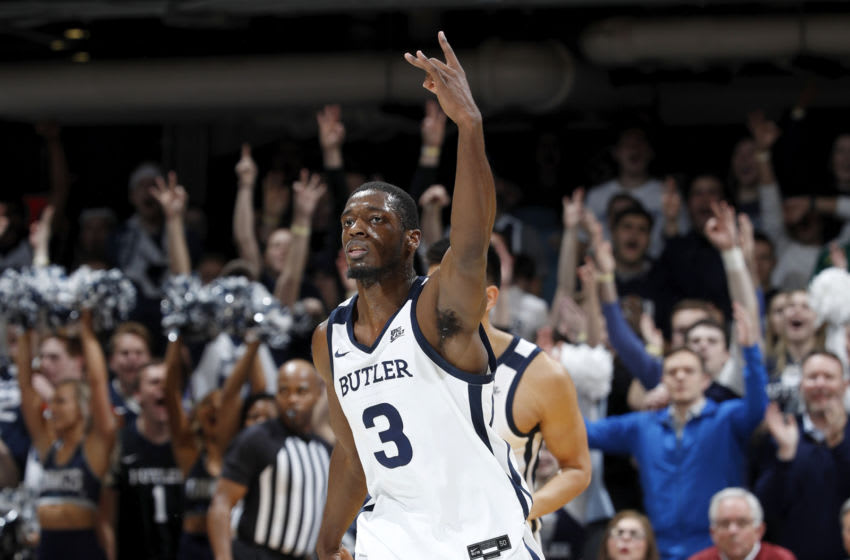 INDIANAPOLIS, IN - JANUARY 15: Kamar Baldwin #3 of the Butler Bulldogs reacts after hitting a three-point shot against the Seton Hall Pirates in the first half at Hinkle Fieldhouse on January 15, 2020 in Indianapolis, Indiana. (Photo by Joe Robbins/Getty Images)