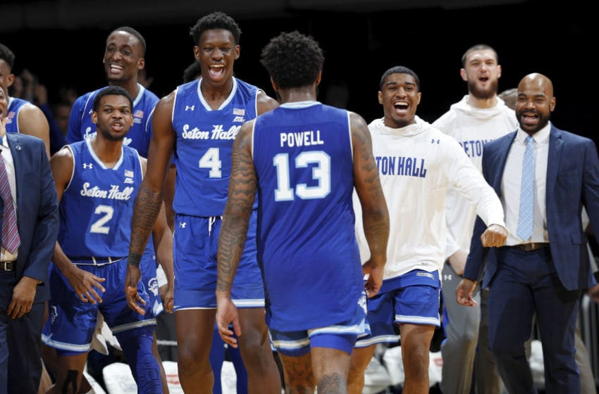 INDIANAPOLIS, IN - JANUARY 15: Seton Hall Pirates players react at the end of the game against the Butler Bulldogs at Hinkle Fieldhouse on January 15, 2020 in Indianapolis, Indiana. Seton Hall defeated Butler 78-70. (Photo by Joe Robbins/Getty Images)