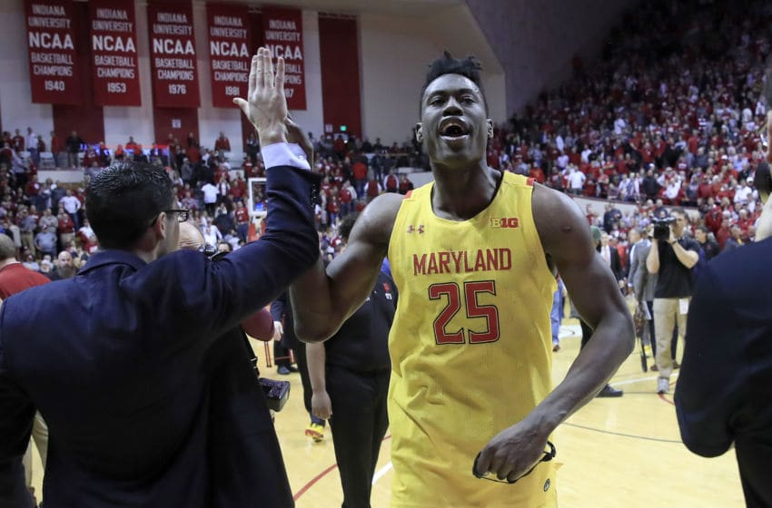 BLOOMINGTON, INDIANA - JANUARY 26: Jalen Smith #25 of the Maryland Terrapins celebrates after the 77-76 win against the Indiana Hoosiers at Assembly Hall on January 26, 2020 in Bloomington, Indiana. (Photo by Andy Lyons/Getty Images)
