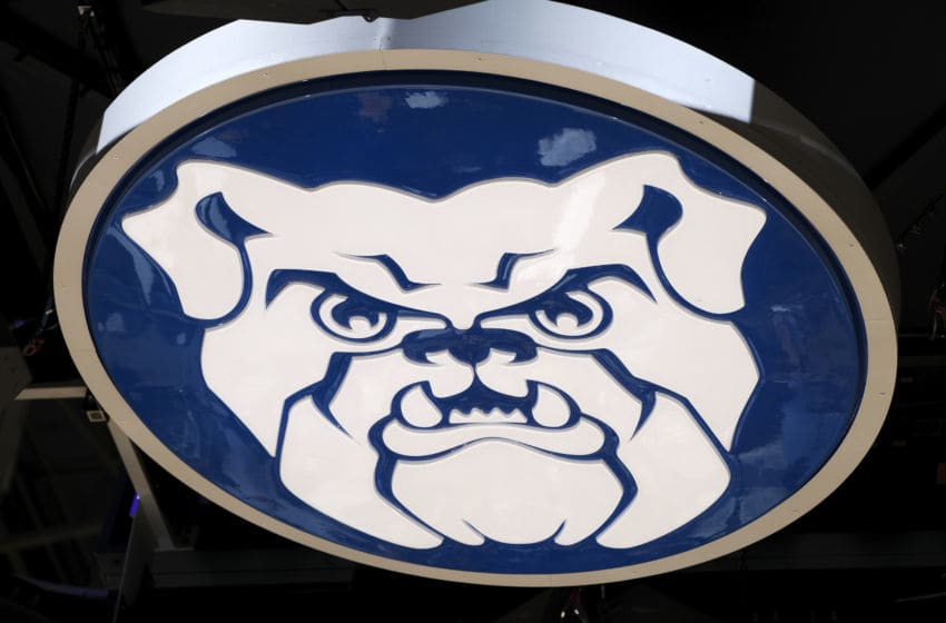 INDIANAPOLIS, IN - JANUARY 24: A detail view of the Butler Bulldogs logo on the bottom of the scoreboard which is seen during a game against the Marquette Golden Eagles at Hinkle Fieldhouse on January 24, 2020 in Indianapolis, Indiana. Butler defeated Marquette 89-85 in overtime. (Photo by Joe Robbins/Getty Images)