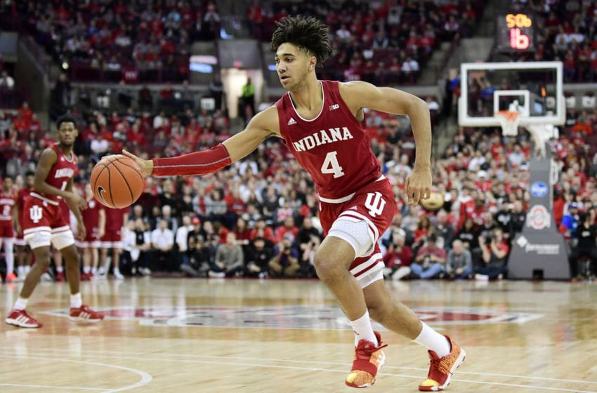 COLUMBUS, OHIO - FEBRUARY 01: Trayce Jackson-Davis #4 of the Indiana Hoosiers heads towards the basket during the first half of their game against the Ohio State Buckeyes at Value City Arena on February 01, 2020 in Columbus, Ohio. (Photo by Emilee Chinn/Getty Images)