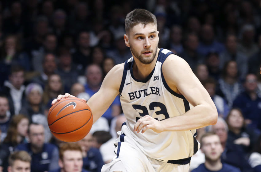 INDIANAPOLIS, INDIANA - FEBRUARY 05: Bryce Golden #33 of the Butler Bulldogs drives to the basket against the Villanova Wildcats during the second half at Hinkle Fieldhouse on February 05, 2020 in Indianapolis, Indiana. The Bulldogs defeated the Wildcats 79-76. (Photo by Justin Casterline/Getty Images)