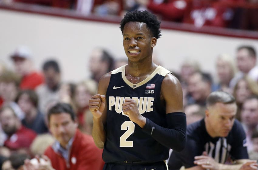 BLOOMINGTON, INDIANA - FEBRUARY 08: Eric Hunter Jr. #2 of the Purdue Boilermakers reacts after a call in the game against the Indiana Hoosiers during the second half at Assembly Hall on February 08, 2020 in Bloomington, Indiana. (Photo by Justin Casterline/Getty Images)