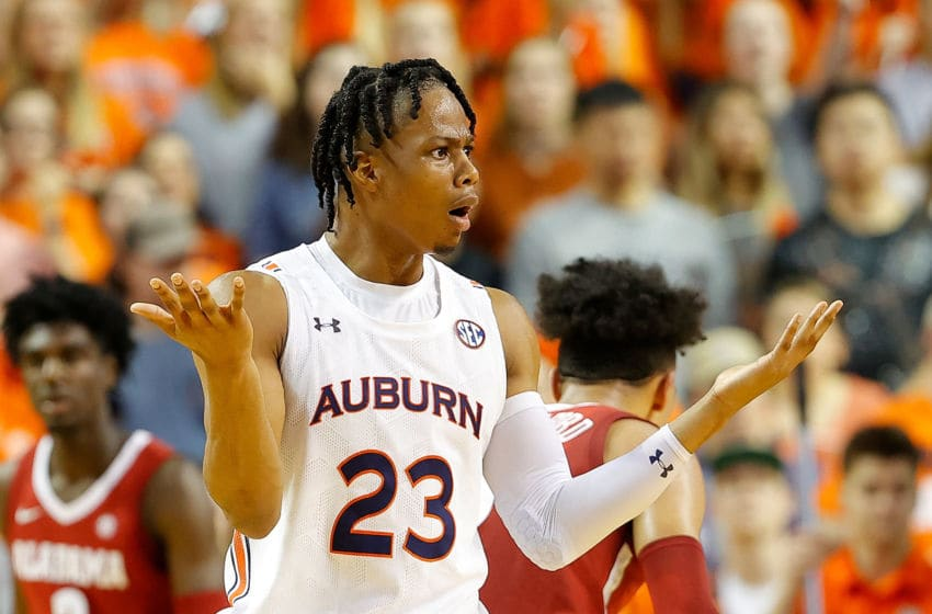 AUBURN, ALABAMA - FEBRUARY 12: Isaac Okoro #23 of the Auburn Tigers reacts in the first half against the Alabama Crimson Tide at Auburn Arena on February 12, 2020 in Auburn, Alabama. (Photo by Kevin C. Cox/Getty Images)