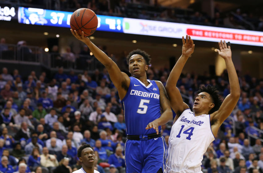 NEWARK, NJ - FEBRUARY 12: Ty-Shon Alexander #5 of the Creighton Bluejays in action against Jared Rhoden #14 of the Seton Hall Pirates during a college basketball game at Prudential Center on February 12, 2020 in Newark, New Jersey. Creighton defeated Seton Hall 87-82. (Photo by Rich Schultz/Getty Images)