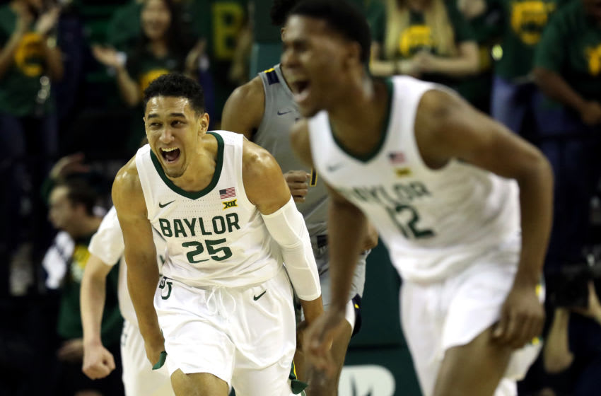 WACO, TEXAS - FEBRUARY 15: Tristan Clark #25 of the Baylor Bears reacts against the West Virginia Mountaineers during the first half at Ferrell Center on February 15, 2020 in Waco, Texas. (Photo by Ronald Martinez/Getty Images)