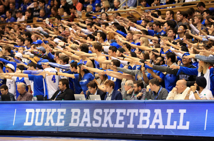 DURHAM, NORTH CAROLINA - FEBRUARY 15: A general view of the fans during the game between the Notre Dame Fighting Irish and Duke Blue Devils at Cameron Indoor Stadium on February 15, 2020 in Durham, North Carolina. (Photo by Streeter Lecka/Getty Images)