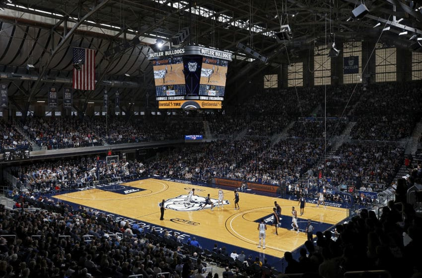 INDIANAPOLIS, IN - FEBRUARY 15: General view from the upper seating level during a game between the Butler Bulldogs and Georgetown Hoyas at Hinkle Fieldhouse on February 15, 2020 in Indianapolis, Indiana. Georgetown defeated Butler 73-66. (Photo by Joe Robbins/Getty Images)