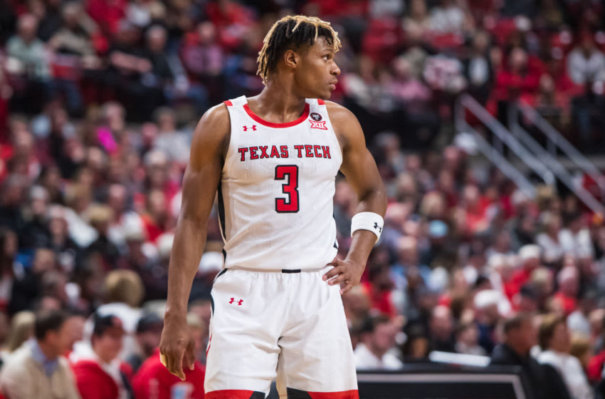 LUBBOCK, TEXAS - FEBRUARY 19: Guard Jahmi'us Ramsey #3 of the Texas Tech Red Raiders looks across the court during the first half of the college basketball game against the Kansas State Wildcats on February 19, 2020 at United Supermarkets Arena in Lubbock, Texas. (Photo by John E. Moore III/Getty Images)