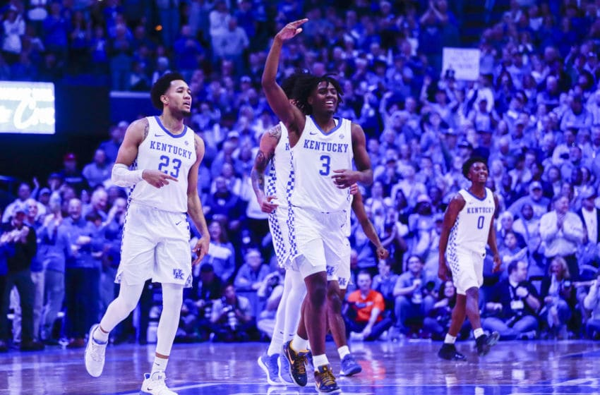 LEXINGTON, KENTUCKY - FEBRUARY 22: Tyrese Maxey #3 of the Kentucky Wildcats celebrates with his teammates after taking the lead from the Florida Gatos during the second half of the game at Rupp Arena on February 22, 2020 in Lexington, Kentucky. (Photo by Silas Walker/Getty Images)