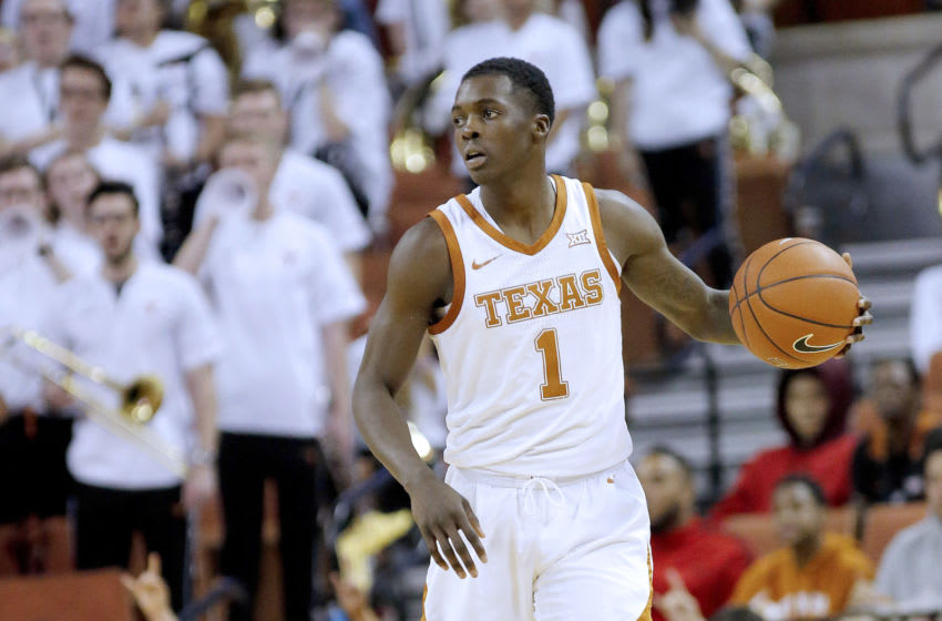 AUSTIN, TEXAS - FEBRUARY 24: Andrew Jones #1 of the Texas Longhorns brings the ball up court against the West Virginia Mountaineers at The Frank Erwin Center on February 24, 2020 in Austin, Texas. (Photo by Chris Covatta/Getty Images)