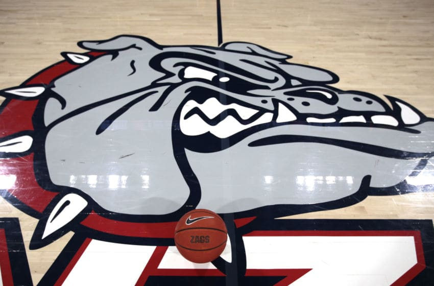 SPOKANE, WASHINGTON - FEBRUARY 20: A basketball sets on the court next to the Bulldogs logo prior to the start of the game between the San Francisco Dons and the Gonzaga Bulldogs at McCarthey Athletic Center on February 20, 2020 in Spokane, Washington. (Photo by William Mancebo/Getty Images)