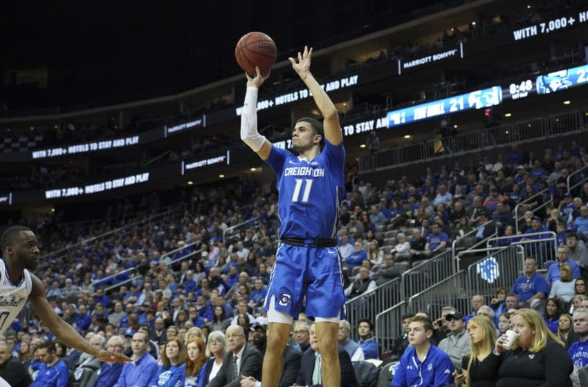 NEWARK, NJ - FEBRUARY 12: Marcus Zegarowski #11 of the Creighton Bluejays shoots the ball against the Seton Hall Pirates during a Big East Conference game at Prudential Center on February 12, 2020 in Newark, NJ. (Photo by Porter Binks/Getty Images)