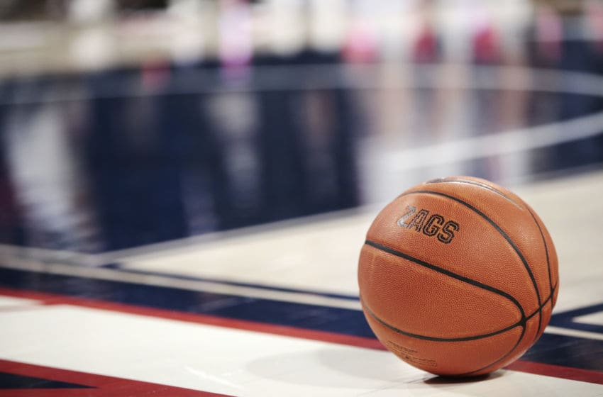 SPOKANE, WASHINGTON - FEBRUARY 29: A basketball sets on the court during a timeout in the second half between the Saint Mary's Gaels and the Gonzaga Bulldogs at McCarthey Athletic Center on February 29, 2020 in Spokane, Washington. Gonzaga defeats Saint Mary's 86-76. (Photo by William Mancebo/Getty Images)