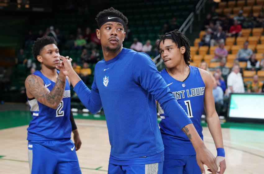 FAIRFAX, VA - MARCH 04: Jordan Goodwin #0 of the Saint Louis Billikens is introduced before a college basketball game against the George Mason Patriots at the Eagle Bank Arena on March 4, 2020 in Fairfax, Virginia. (Photo by Mitchell Layton/Getty Images)