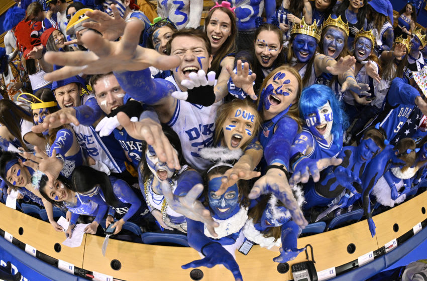 DURHAM, NORTH CAROLINA - MARCH 07: The Cameron Crazies cheer during the game between the Duke Blue Devils and the North Carolina Tar Heels at Cameron Indoor Stadium on March 07, 2020 in Durham, North Carolina. (Photo by Grant Halverson/Getty Images)