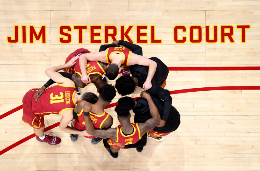 LOS ANGELES, CA - MARCH 07: USC Trojans players huddle on the court during the game against the UCLA Bruins at Galen Center on March 7, 2020 in Los Angeles, California. (Photo by Jayne Kamin-Oncea/Getty Images)