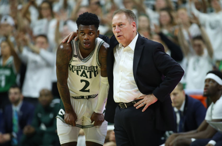 EAST LANSING, MICHIGAN - MARCH 08: Head coach Tom Izzo of the Michigan State Spartans talks to Rocket Watts #2 while playing the Ohio State Buckeyes at the Breslin Center on March 08, 2020 in East Lansing, Michigan. (Photo by Gregory Shamus/Getty Images)