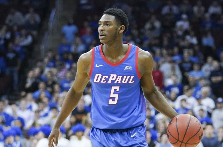 NEWARK, NJ - JANUARY 29: Jalen Coleman-Lands #5 of the DePaul Blue Demons dribbles the ball against the Seton Hall Pirates at Prudential Center on January 29, 2020 in Newark, NJ. (Photo by Porter Binks/Getty Images)