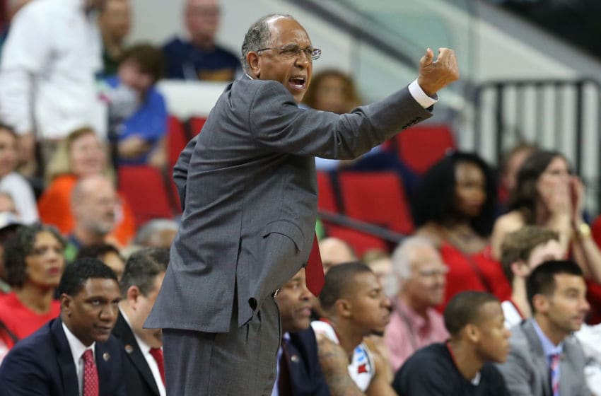 RALEIGH, NORTH CAROLINA - MARCH 17: Head coach Tubby Smith of the Texas Tech Red Raiders reacts in the second half while taking on the Butler Bulldogs in the first round of the 2016 NCAA Men's Basketball Tournament at PNC Arena on March 17, 2016 in Raleigh, North Carolina. (Photo by Streeter Lecka/Getty Images)