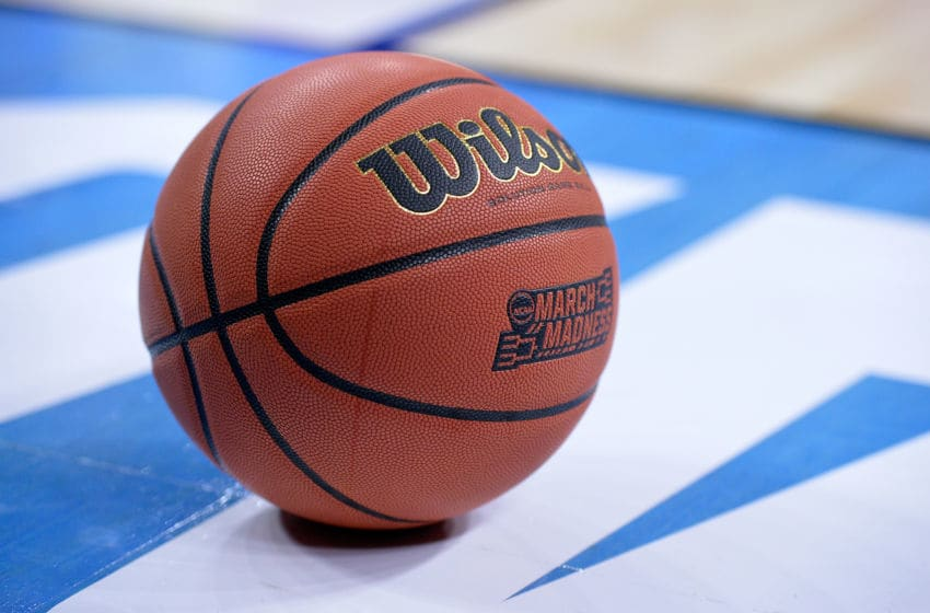 RALEIGH, NC - MARCH 17: a detailed view of a basketball in the first half of the game between the Florida Gulf Coast Eagles and the North Carolina Tar Heels during the first round of the 2016 NCAA Men's Basketball Tournament at PNC Arena on March 17, 2016 in Raleigh, North Carolina. (Photo by Grant Halverson/Getty Images)