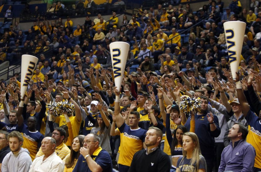 MORGANTOWN, WV - FEBRUARY 12: The West Virginia Mountaineers student section against the TCU Horned Frogs at the WVU Coliseum on February 12, 2018 in Morgantown, West Virginia. (Photo by Justin K. Aller/Getty Images)