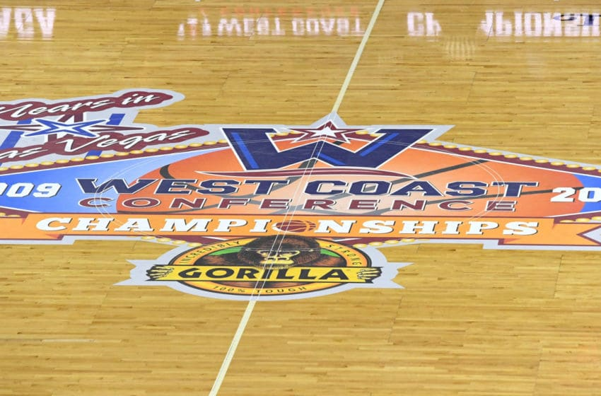 LAS VEGAS, NV - MARCH 06: A logo for the West Coast Conference basketball tournament is shown on the court before the championship game between the Brigham Young Cougars and the Gonzaga Bulldogs at the Orleans Arena on March 6, 2018 in Las Vegas, Nevada. The Bulldogs won 74-54. (Photo by Ethan Miller/Getty Images)