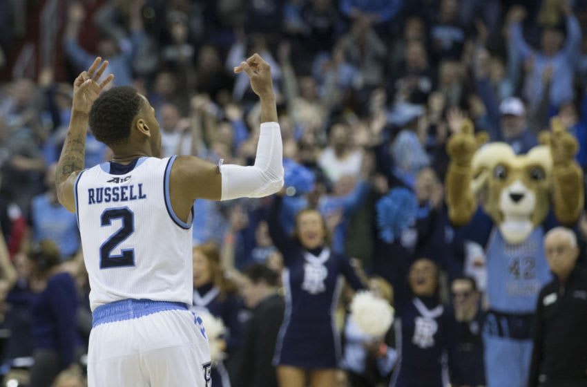 WASHINGTON, DC - MARCH 9: Fatts Russell #2 of the Rhode Island Rams reacts after making a three point basket as time expired in the first half against the Virginia Commonwealth Rams in the Quarterfinals of the Atlantic 10 Basketball tournament at Capital One Arena on March 9, 2018 in Washington, DC. (Photo by Mitchell Leff/Getty Images)