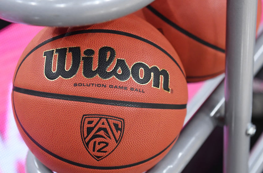 LAS VEGAS, NV - MARCH 09: A basketball is shown in a ball rack before a semifinal game of the Pac-12 basketball tournament between the UCLA Bruins and the Arizona Wildcats at T-Mobile Arena on March 9, 2018 in Las Vegas, Nevada. The Wildcats won 78-67 in overtime. (Photo by Ethan Miller/Getty Images)