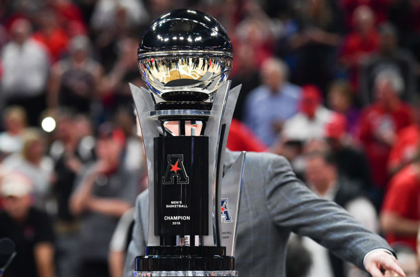 ORLANDO, FL - MARCH 11: The AAC Championship trophy to be presented to the Cincinnati Bearcats after the final game of the 2018 AAC Basketball Championship against Houston Cougars at Amway Center on March 11, 2018 in Orlando, Florida. (Photo by Mark Brown/Getty Images) *** Local Caption ***