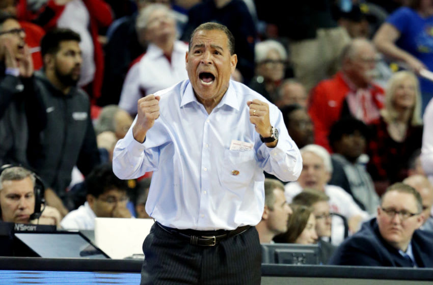 WICHITA, KS - MARCH 15: Head coach Kelvin Sampson of the Houston Cougars reacts late in the game against the San Diego State Aztecs in the first round of the 2018 NCAA Men's Basketball Tournament at INTRUST Arena on March 15, 2018 in Wichita, Kansas. The Houston Cougars defeated the San Diego State Aztecs 67-65. (Photo by Jeff Gross/Getty Images)