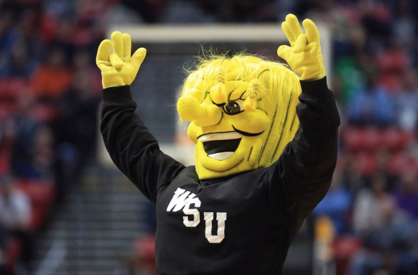 SAN DIEGO, CA - MARCH 16: The Wichita State Shockers mascot gestures in the second half against the Marshall Thundering Herd during the first round of the 2018 NCAA Men's Basketball Tournament at Viejas Arena on March 16, 2018 in San Diego, California. (Photo by Sean M. Haffey/Getty Images)
