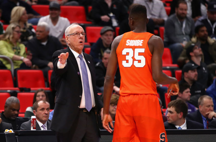 DETROIT, MI - MARCH 16: Head coach Jim Boeheim of the Syracuse Orange talks with Bourama Sidibe #35 during the first half against the TCU Horned Frogs in the first round of the 2018 NCAA Men's Basketball Tournament at Little Caesars Arena on March 16, 2018 in Detroit, Michigan. (Photo by Gregory Shamus/Getty Images)